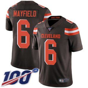 Youth Browns #6 Baker Mayfield 100th Season Jersey